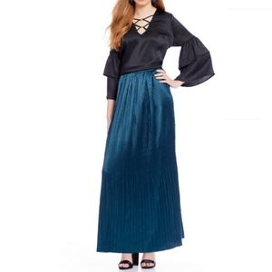 Skies Are Blue Pleated Maxi Teal Long Skirt